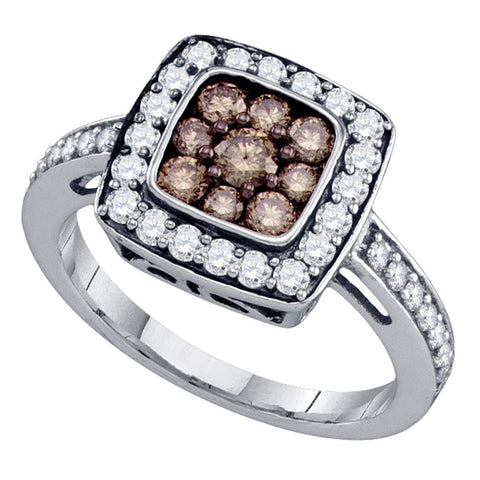 10k White Gold Womens Cognac-brown Colored Diamond Square Cluster Ring 1.00 Cttw