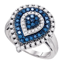 10kt White Gold Womens Round Blue Colored Diamond Teardrop Cluster Ring 1.00 Cttw