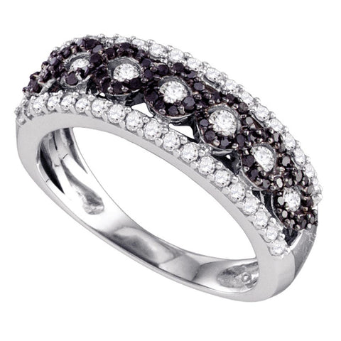 10k White Gold Womens Black Colored Diamond Circular Band Ring 3/4 Cttw