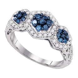 10k White Gold Womens Blue Colored Diamond Flower Cluster Ring 3/4 Cttw
