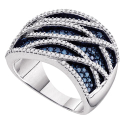 10kt White Gold Womens Round Blue Colored Diamond Striped Cocktail Ring 1-1/4 Cttw
