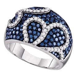 10kt White Gold Womens Round Blue Colored Diamond Wide Cocktail Ring 1-1/2 Cttw