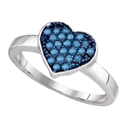 10kt White Gold Womens Round Blue Colored Diamond Heart Cluster Ring 1/3 Cttw