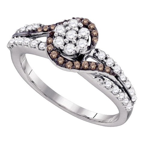 10k White Gold Cognac-brown Colored Diamond Flower Cluster Bridal Ring 1/2 Cttw
