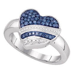 10kt White Gold Womens Round Blue Colored Diamond Striped Heart Ring 1/3 Cttw