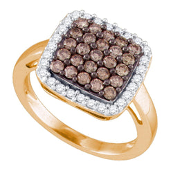 10kt Rose Gold Womens Round Cognac-brown Colored Diamond Square Cluster Ring 1.00 Cttw