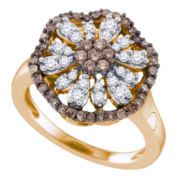 10k Rose Gold Womens Cognac-brown Colored Round Diamond Flower Cluster Ring 3/4 Cttw