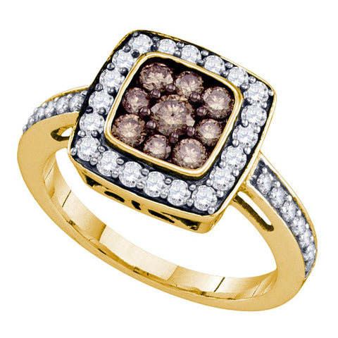10k Yellow Gold Womens Cognac-brown Colored Diamond Square Cluster Ring 1.00 Cttw