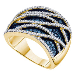 10kt Yellow Gold Womens Round Blue Colored Diamond Striped Cocktail Ring 1-1/4 Cttw