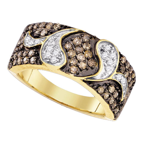 10k Yellow Gold Womens Cognac-brown Colored Diamond Cocktail Band Ring 7/8 Cttw