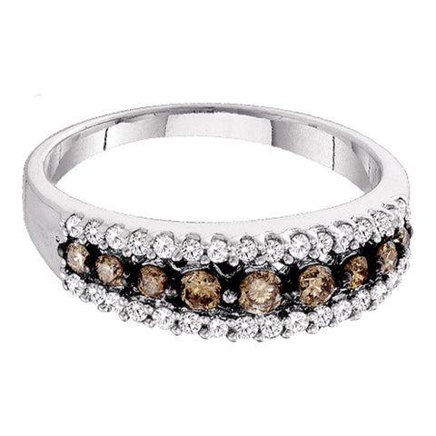 10k White Gold Womens Cognac-brown Colored Diamond Band Ring 1/2 Cttw Size 6