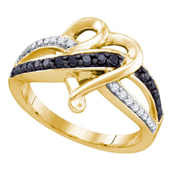 10kt Yellow Gold Womens Round Black Colored Diamond Striped Heart Ring 1/3 Cttw