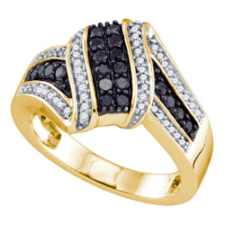 10kt Yellow Gold Womens Round Black Colored Diamond Cluster Ring 1/2 Cttw
