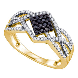 10kt Yellow Gold Womens Round Black Colored Diamond Square Cluster Ring 1/3 Cttw