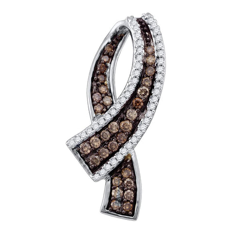 10k Yellow Gold Cognac-brown Colored Round Pave-set Diamond Womens Ribbon Pendant 1/2 Cttw
