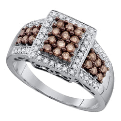 10kt White Gold Womens Round Cognac-brown Colored Diamond Square Cluster Ring 5/8 Cttw