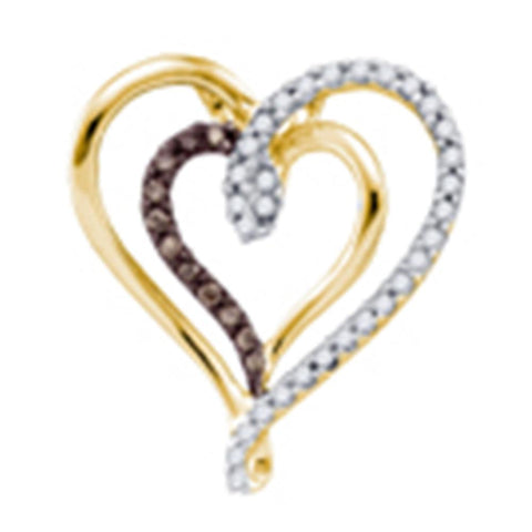 10k Yellow Gold Cognac-brown Colored Round Diamond Double Heart Love Pendant 1/4 Cttw