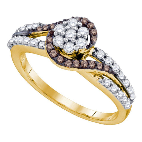 10k Yellow Gold Cognac-brown Colored Diamond Flower Cluster Bridal Ring 1/2 Cttw