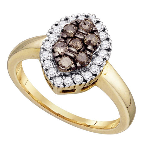 10k Yellow Gold Womens Cognac-brown Colored Cluster Oval-shape Diamond Ring 1/2 Cttw