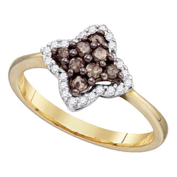 10kt Yellow Gold Womens Round Cognac-brown Colored Diamond Cluster Ring 1/3 Cttw