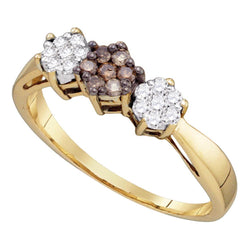 10kt Yellow Gold Womens Round Cognac-brown Colored Diamond Cluster Ring 1/4 Cttw