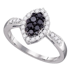 10kt White Gold Womens Round Black Colored Diamond Oval Cluster Ring 1/2 Cttw