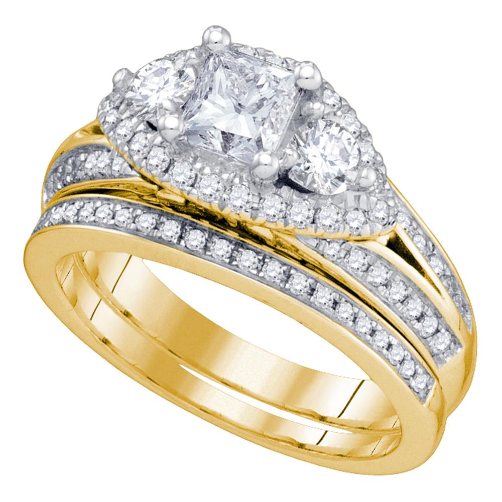 14kt Yellow Gold Womens Princess Diamond Bridal Wedding Engagement Ring Band Set 2-3/4 Cttw