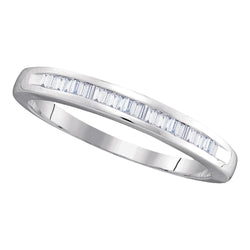 10kt White Gold Womens Baguette Diamond Wedding Anniversary Band 1/4 Cttw