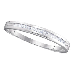 10kt White Gold Womens Baguette Diamond Wedding Anniversary Band 1/6 Cttw