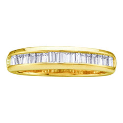 10kt Yellow Gold Womens Baguette Diamond Wedding Anniversary Band 1/2 Cttw