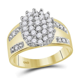 10kt Yellow Gold Womens Round Prong-set Diamond Oval Cluster Ring 1/2 Cttw