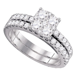 18kt White Gold Womens Round Diamond Bridal Wedding Engagement Ring Band Set 1-3/8 Cttw
