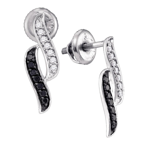 10k White Gold Black Colored Round Pave-set Diamond Womens Screwback Stud Earrings 1/3 Cttw