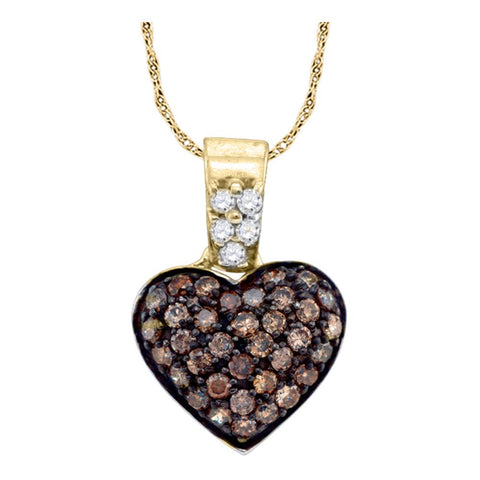 10k Yellow Gold Cognac-brown Colored Round Cluster Diamond Womens Heart Pendant 3/8 Cttw