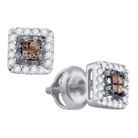 10k White Gold Womens Cognac-brown Colored Princess Diamond Stud Square Screwback Earrings 1/3 Cttw