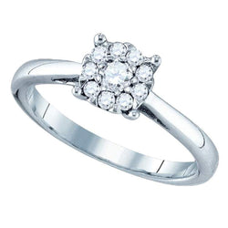 18kt White Gold Womens Round Diamond Cluster Bridal Wedding Engagement Ring 1/2 Cttw