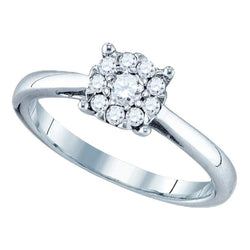 18kt White Gold Womens Round Diamond Cluster Bridal Wedding Engagement Ring 1.00 Cttw