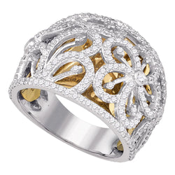 Ladies 10K Gold Two Tone Floral Real Diamond Fashion Cocktail Ring Band 1 1/8 CT