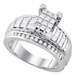 10kt White Gold Womens Princess Diamond Invisible-set Bridal Wedding Engagement Ring 7/8 Cttw
