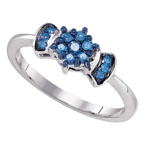 10K White Gold Womens Blue Colored Round Diamond Flower Cluster Ring 1/4 Cttw
