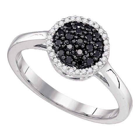 10k White Gold Womens Black Colored Diamond Halo Cluster Ring 1/4 Cttw