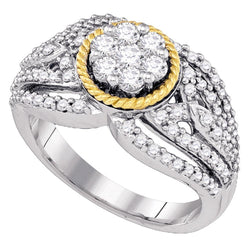 10kt Two-tone Gold Womens Round Diamond 2-tone Roped Cluster Ring 7/8 Cttw