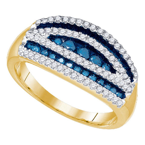 10k Yellow Gold Womens Blue Colored Round Diamond Striped Cocktail Band Ring 3/4 Cttw