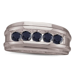 10k White Gold 1 Row Enhanced Black Colored Diamond Mens Ring Band 1/4 CT