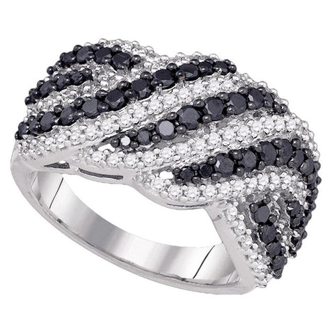 10k White Gold Womens Black Colored Diamond Striped Cocktail Band Ring 1-1/2 Cttw