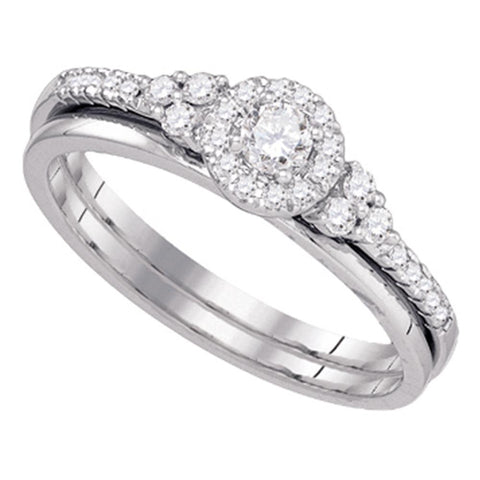 10k White Gold Womens Round Diamond Slender Wedding Bridal Engagement Ring Band Set 1/3 Cttw