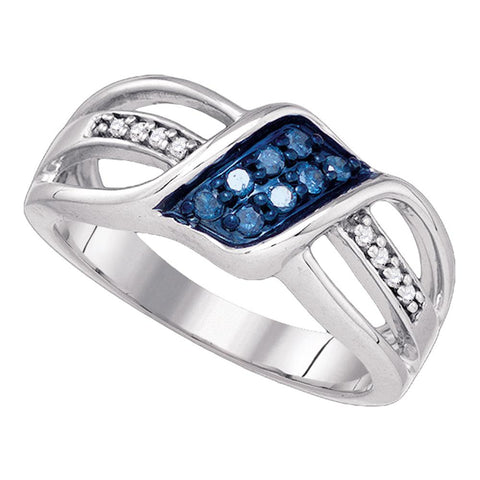 10k White Gold Womens Blue Colored Diamond Crossover Band Ring 1/5 Cttw