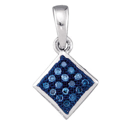 10kt White Gold Womens Round Blue Colored Diamond Square Pendant 1/20 Cttw