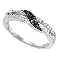 10k White Gold Black Colored Diamond Slender Womens Band Ring Unique 1/6 Cttw