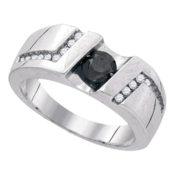 Sterling Silver Black Colored Round Channel-Set Diamond Mens Masculine Band Ring 1.03 Cttw